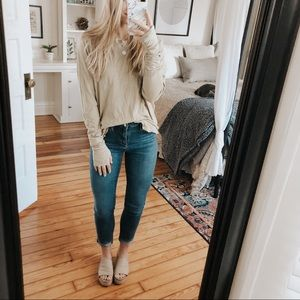 Free People Moss Green Arden Long Sleeve Top